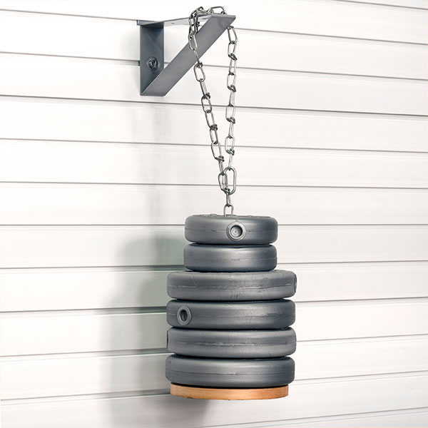 Slatwall Garage Storage Solution Holding Weights