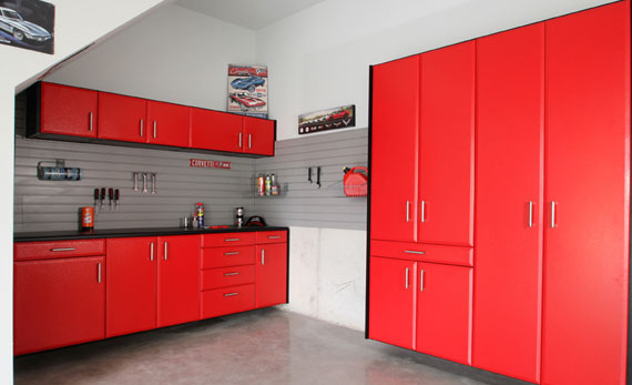 Garage Cabinet Storage System in Red