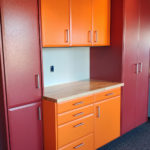 Custom Garage Cabinets Red and Orange