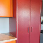 Custom Garage Cabinets Red and Orange Tall Cabinet
