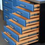 Custom Garage Cabinets Blue Drawers Pulled out