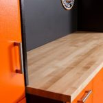Custom Garage Cabinets Butcher's Block Countertop Closeup