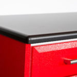 Custom Garage Cabinets Red and Black Closeup