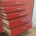 Custom Garage Cabinets Red Drawers Pulled Out
