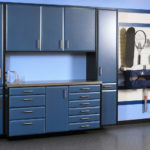 Custom Garage Cabinets Blue and Black with Slatwall Storage