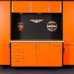 Custom Garage Cabinets Orange and Black Harley-Davidson Themed Cabinets