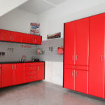 Custom Garage Cabinets Red and Pegboard