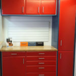 Custom Garage Cabinets Red and Blue