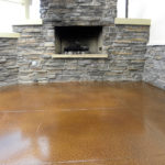 Garage Floor Coatings Brown and Fireplace
